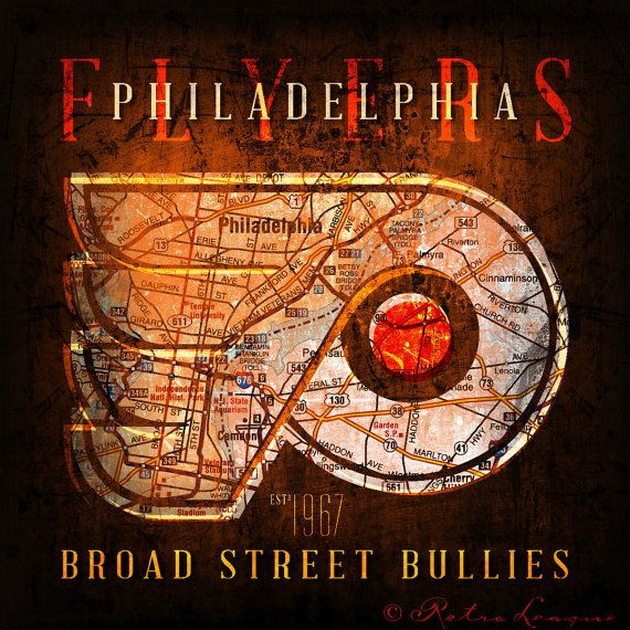 Philadelphia Flyers Broad Street Bullies Vintage Map Perfect