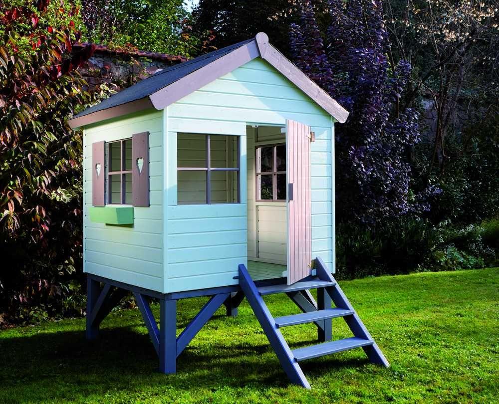 cabane en bois pour enfant sur pilotis 147x182x210cm cabane maisonnette jardipolys sur. Black Bedroom Furniture Sets. Home Design Ideas