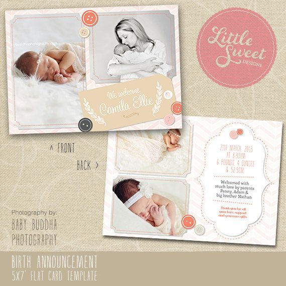 5x7 Birth Announcement Template Baby Announcement Photoshop – Birth Announcement Photoshop Template
