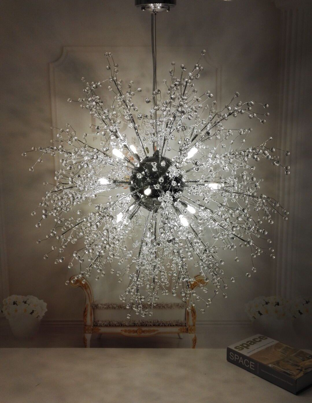 Gdns Chandeliers Firework Led Light Stainless Steel Crystal Pendant Lighting Ceiling Fixtures