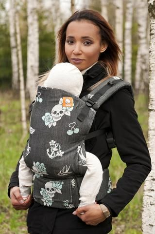 df998366ead Black and white skulls baby carrier! Full Standard WC Carrier - Oldschool  Ocean Wrap Conversion - Baby Tula