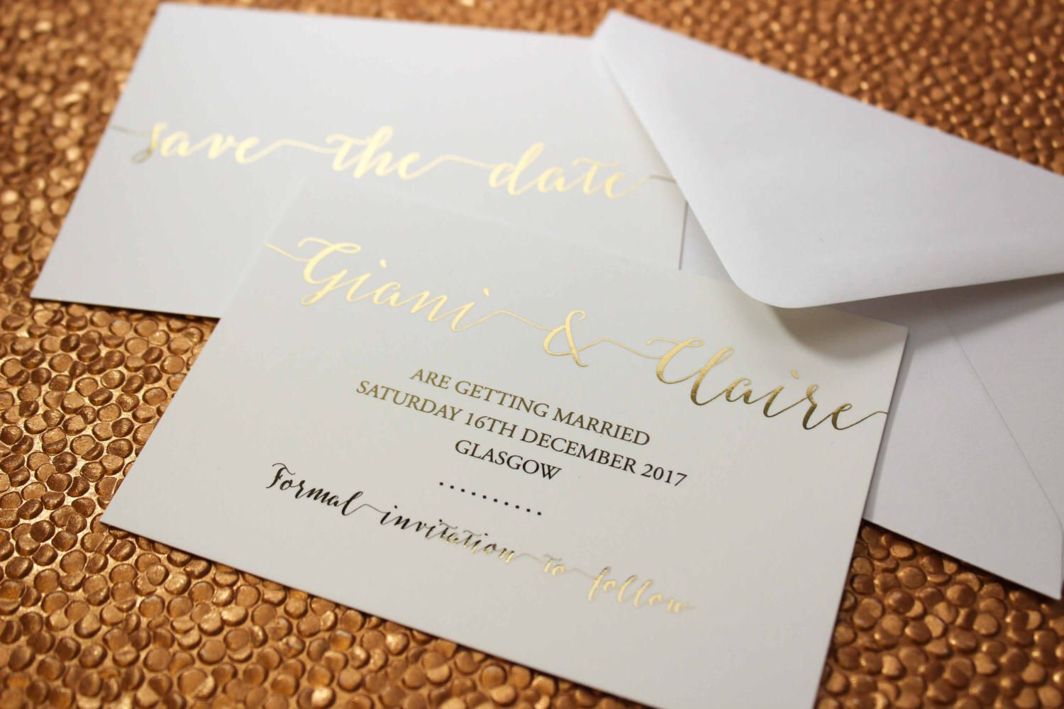 Luxury gold foil on silk white wedding save the date cards with ...
