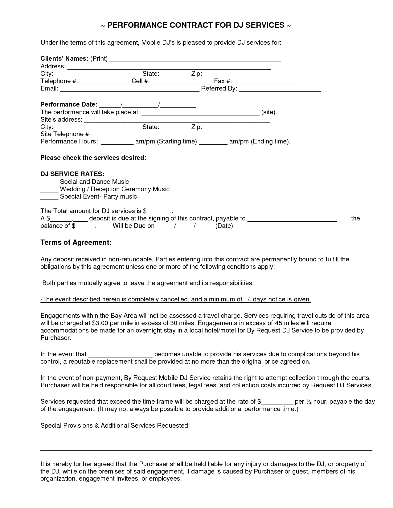 dance contract template - mobile dj contract dj service contract 2011 current
