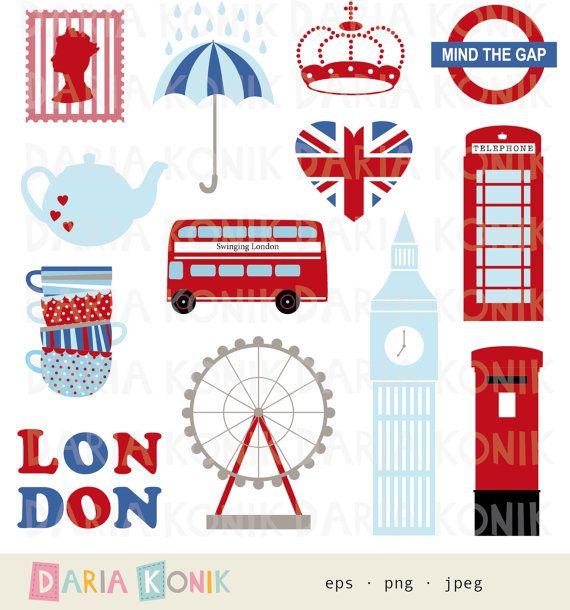 Clip Art Set Stad Clipart Uk Londen Groot Brittannie Reizen