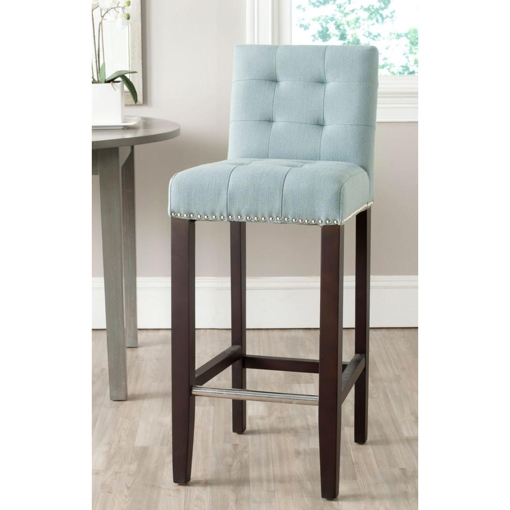 Safavieh Thompson 30 In Sky Blue Cushioned Bar Stool Mcr4505g