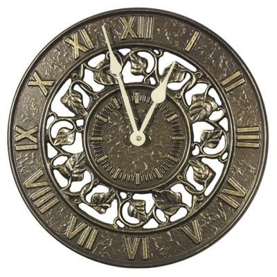 Whitehall Products 12 In French Bronze Ivy Silhouette Wall Clock 01834 The Home Depot Outdoor Wall Clocks Outdoor Clock Clock