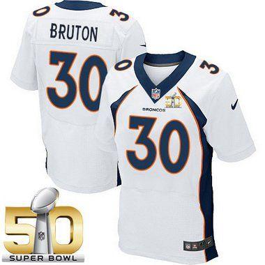Men's Denver Broncos #30 David Bruton White Road 2016 Super Bowl 50th Patch Bound Elite Jersey