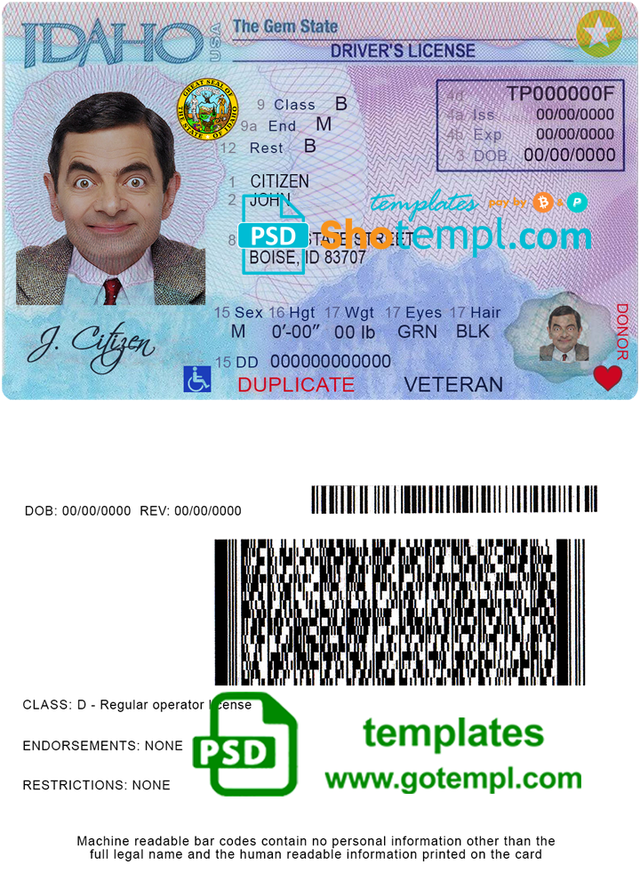 Usa Idaho Driver License Template In Psd Format In 2021 Document Templates Templates Psd