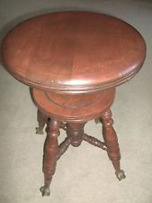 VINTAGE ANTIQUE 1800'S SWIVEL PIANO BENCH/CHAIR/SEAT/OTTOMAN/FOOT STOOL