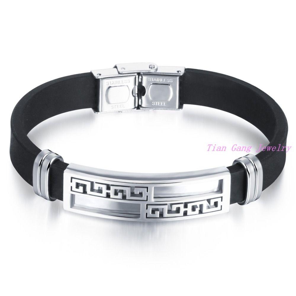 New fashion trendy male menus bracelet wristband cuff bangle silver