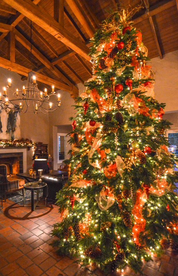 Colorfull And Festive Christmas Tree At The Inn At Rancho Santa Fe Christmas Tree Beautiful Christmas Trees Rancho Santa Fe