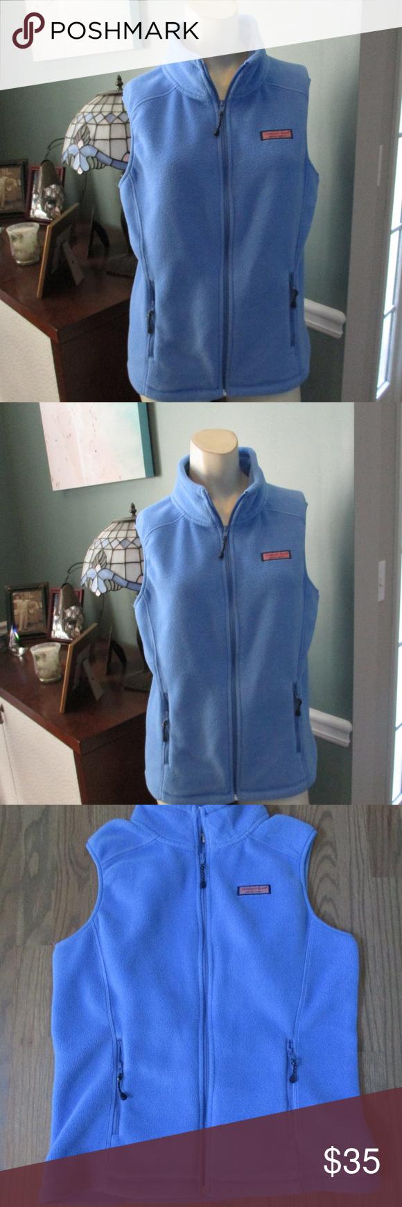 Vineyard vines blue fleece womenus vest small my posh closet