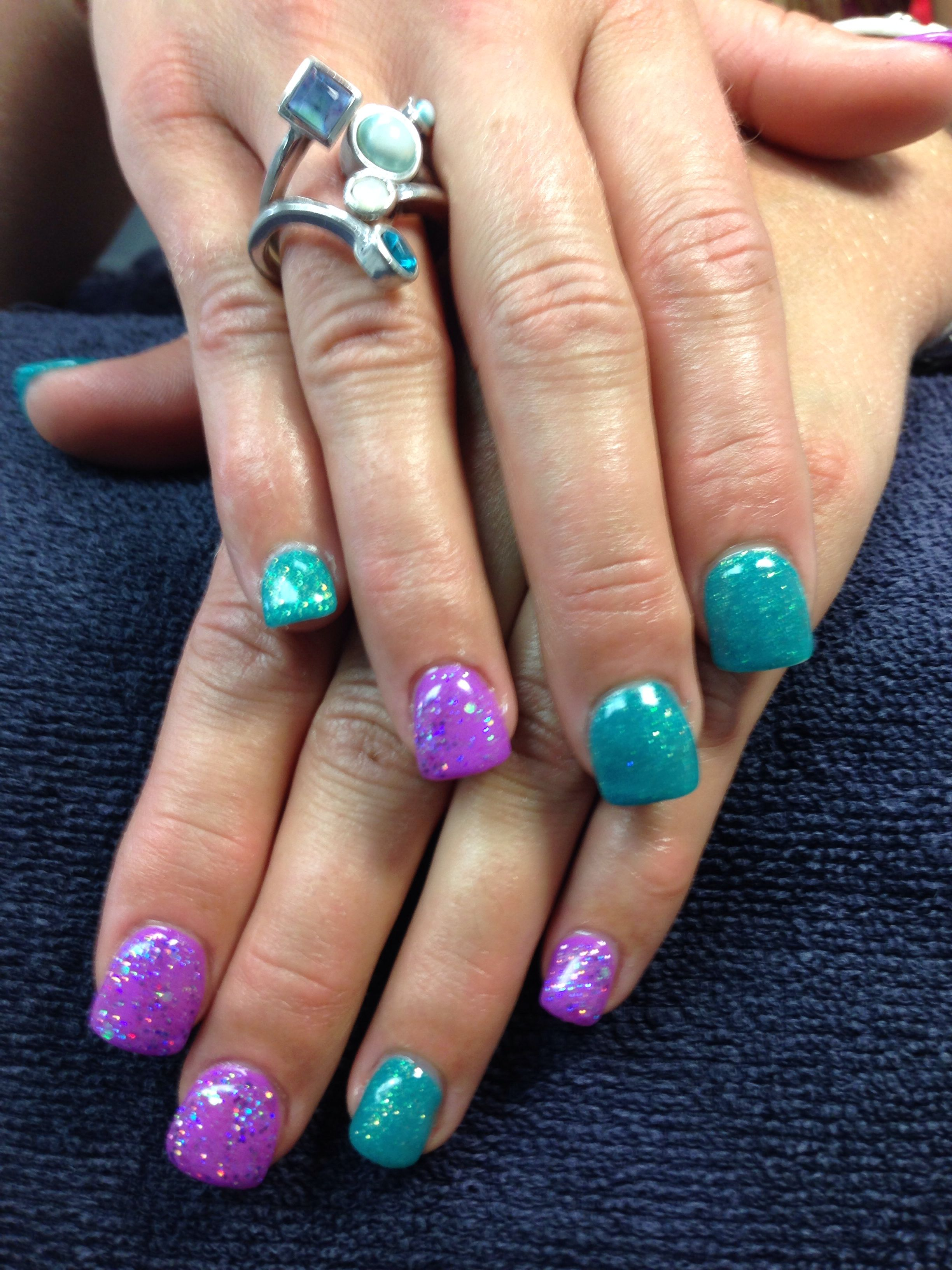 danae's nails. purple and teal