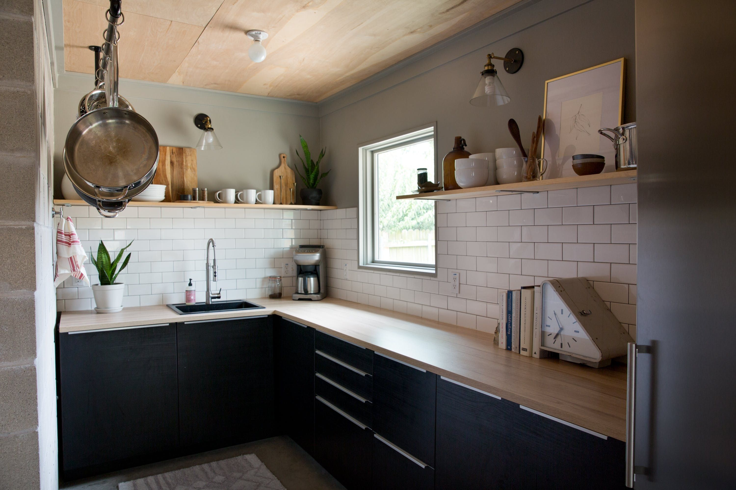 a modest modern tiny home in a garage in 2019 kitchens without upper cabinets upper on farmhouse kitchen no upper cabinets id=82975