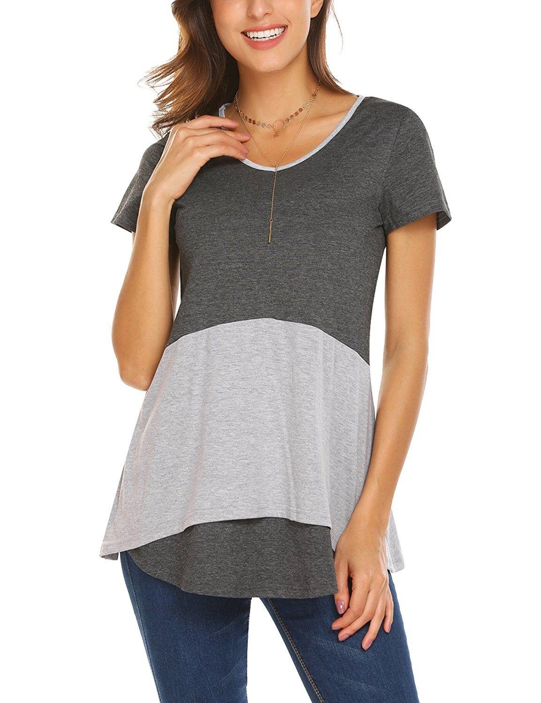 3ae864e1bff Women's Clothing, Tops & Tees, Knits & Tees, Women's Short Sleeve V Neck  Colorblock Ruffle Hem Tunic Top Tee Shirts - Dark Grey - CQ188WKGKGZ # Clothing ...