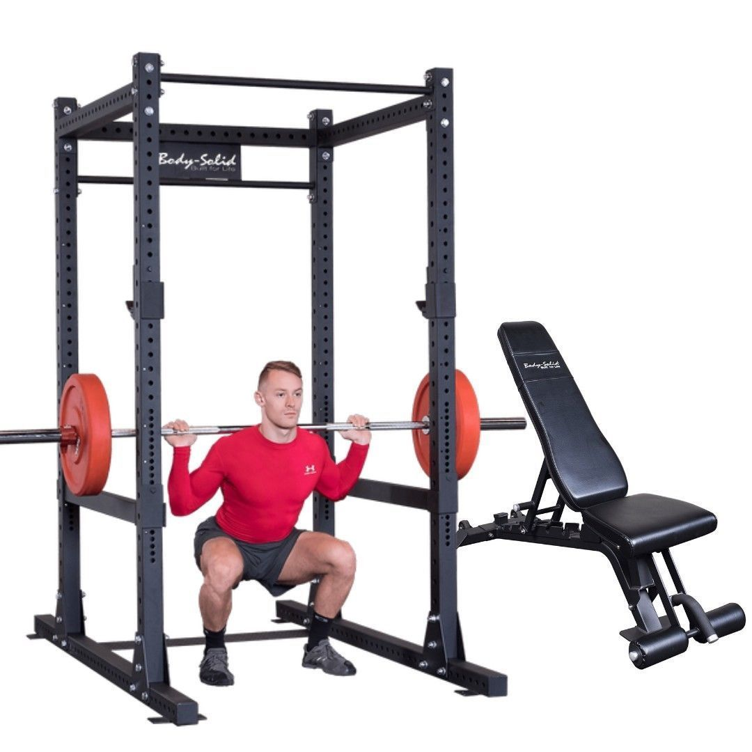 Body Solid Power Cage Squat Rack Gym With Adjustable Bench In