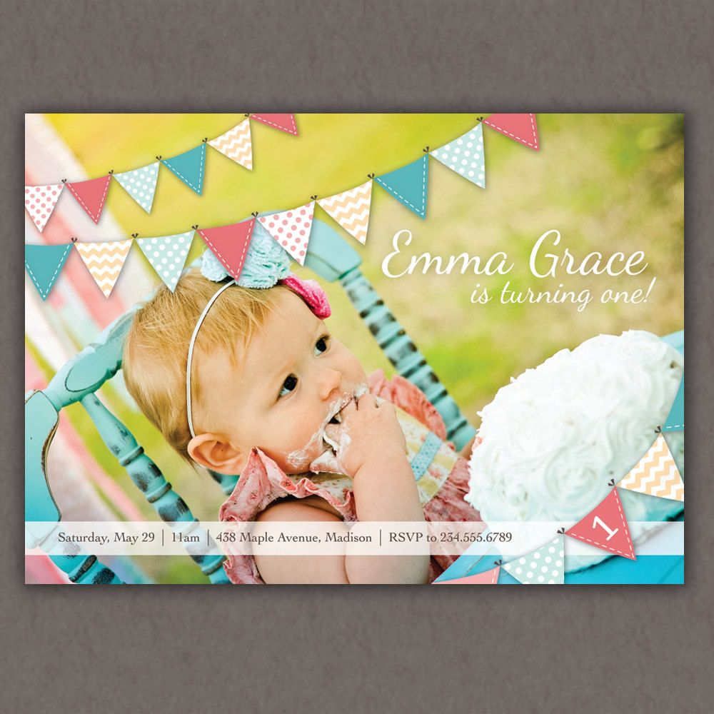 Bunting birthday invitation pennant by lemonadedesignstudio