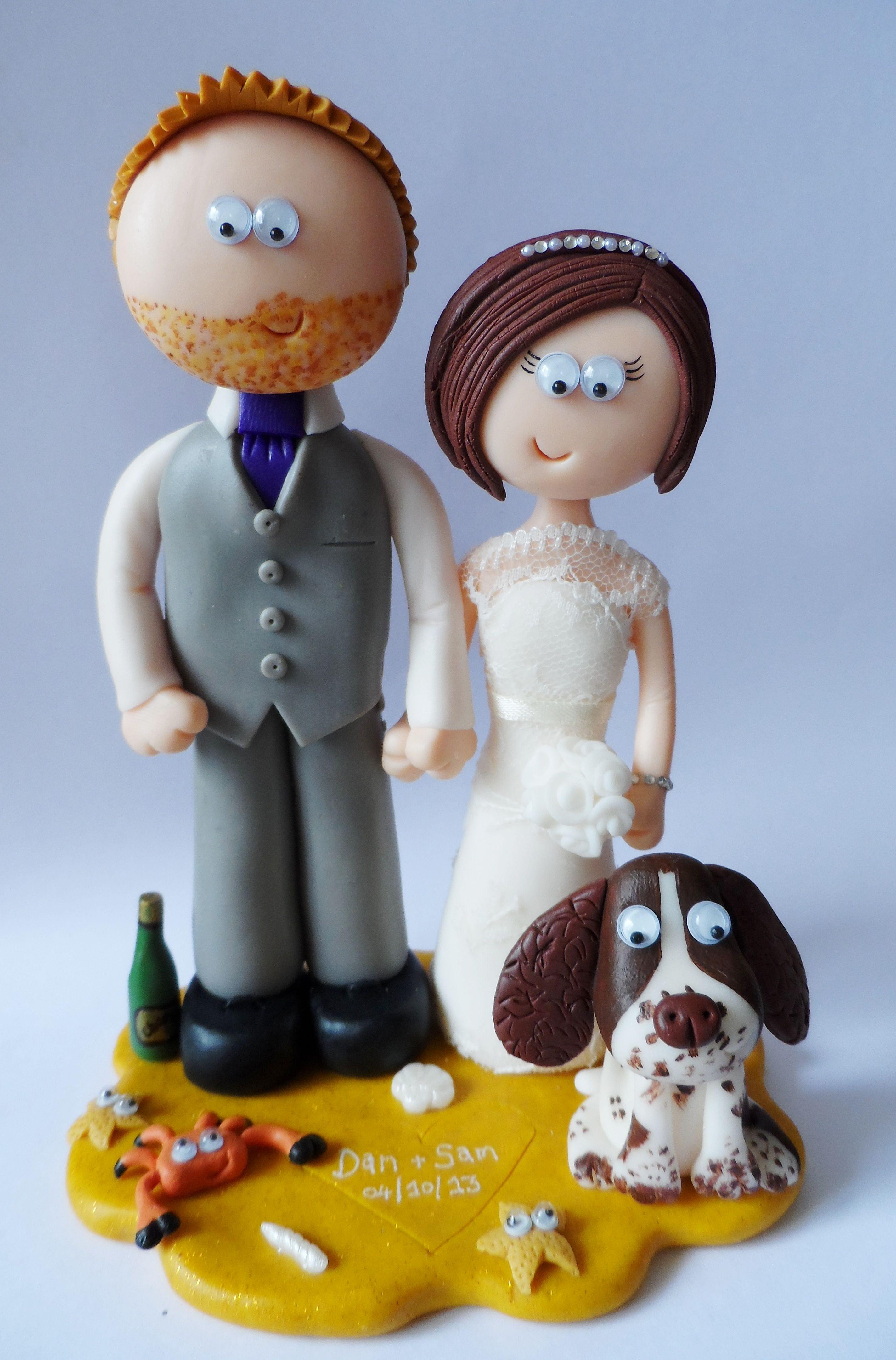 Beach themed personalised Bride & Groom wedding cake