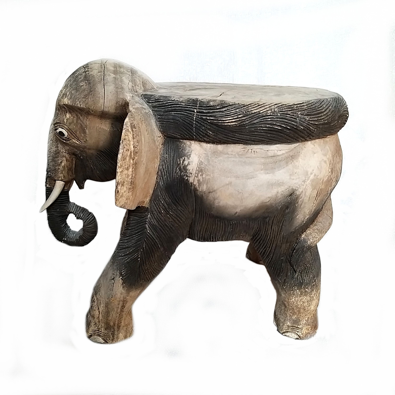Vintage Large Wooden Elephant Stool Plant Holder Stand Brown Grey