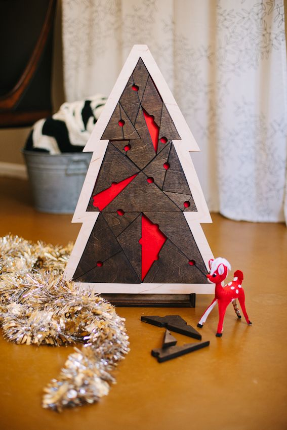 Tannenbaum Puzzle.Geometric Christmas Tree Puzzle Selbermachen Weihnachtspuzzle