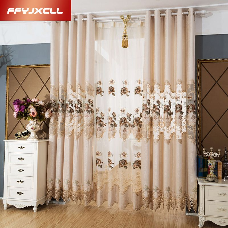 House Remodel Budget Chenille Embroidered European Royal Luxury Entrancing Luxury Curtains For Living Room Design Ideas