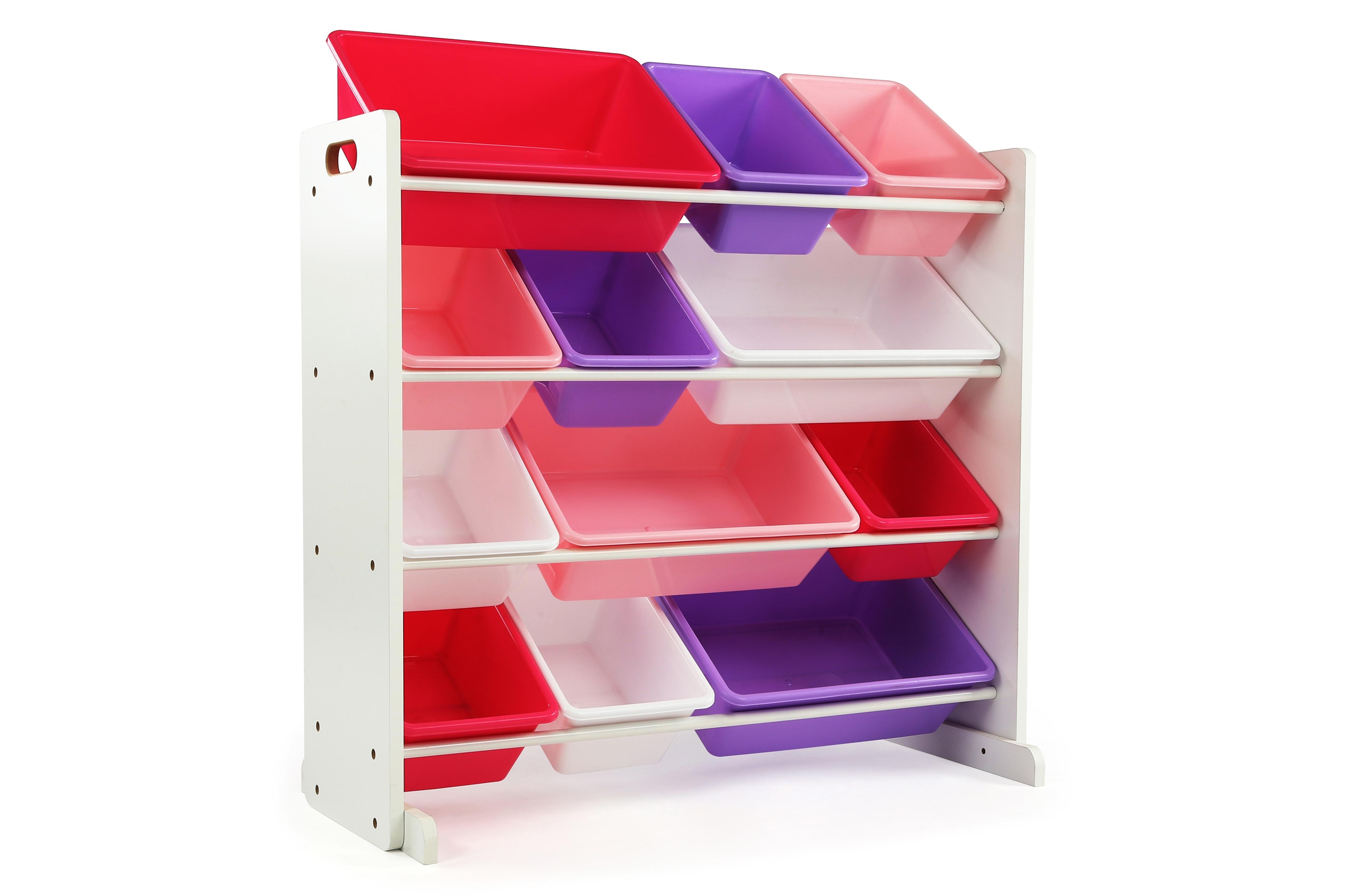 Kids Mani Toy Storage Organizer With Twelve Plastic Bins White Kid Toy Storage Toy Storage Kids Playroom Furniture