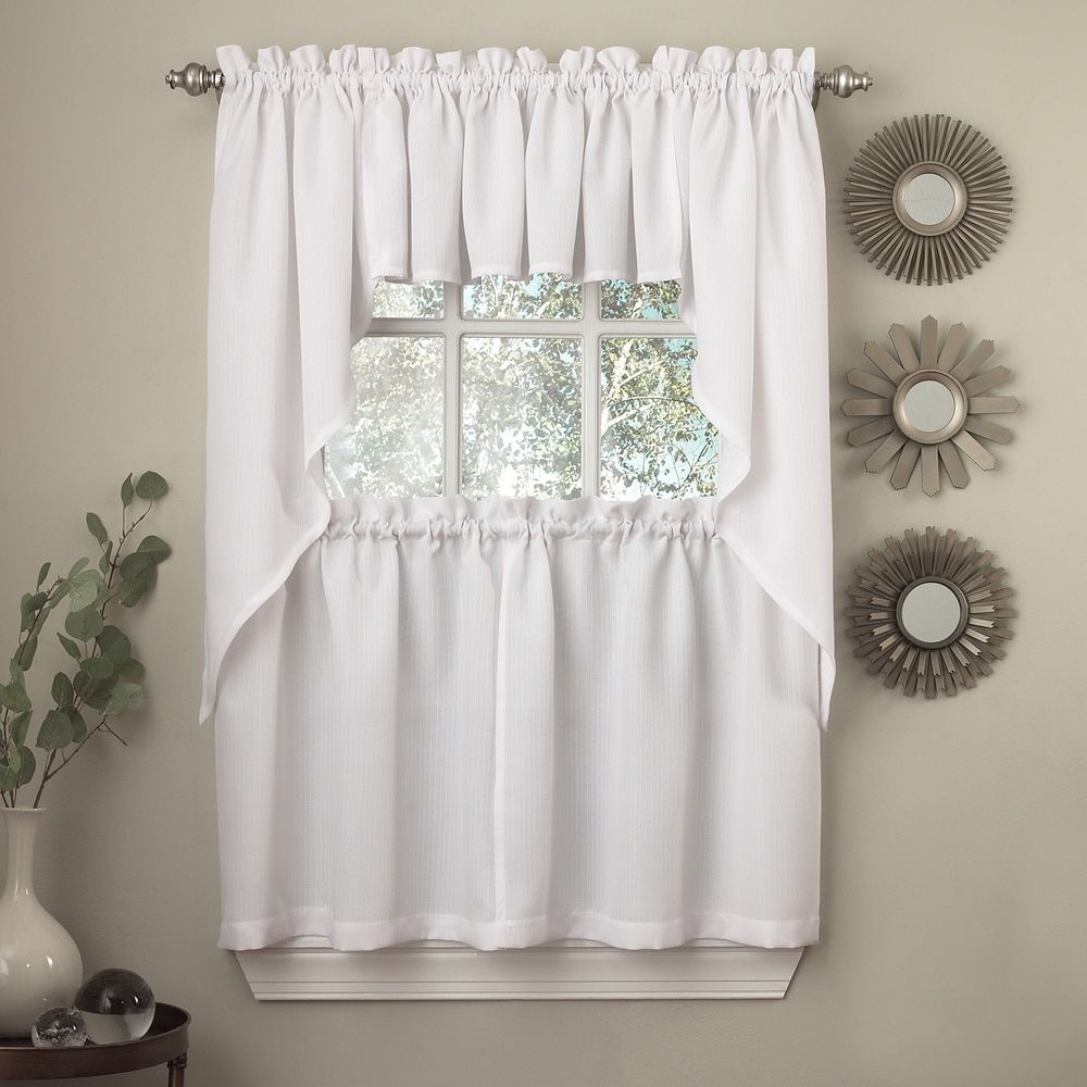 Opaque ribcord kitchen curtain pieces tiers valances swags