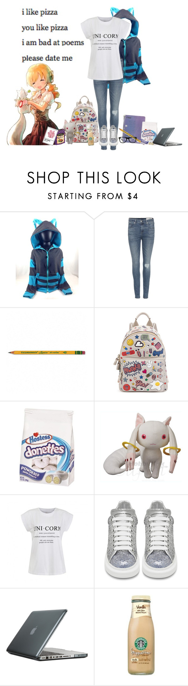 """""""My day"""" by wynysc23 ❤ liked on Polyvore featuring rag & bone, Dixon Ticonderoga, Anya Hindmarch, Hostess, Puella, Ally Fashion, Alexander McQueen, Speck and Muse"""