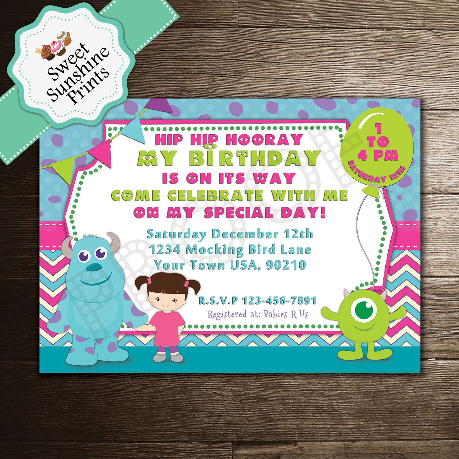 Monsters Inc Birthday Party Invitation - Girl - Mike - Boo - Sully ...