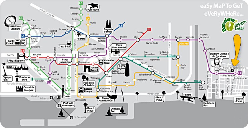 awesome Barcelona Map Tourist Attractions | 4.1 Barcelona & Madrid ...