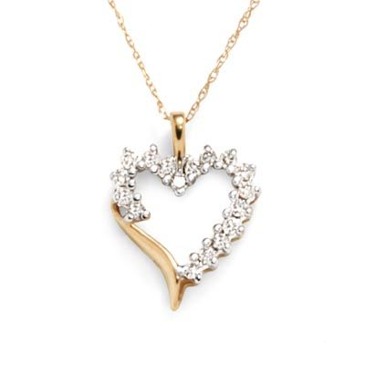 Zales 12 ct tw diamond shadow heart pendant in 10k gold zales tw diamond shadow heart pendant in 10k gold mozeypictures Images