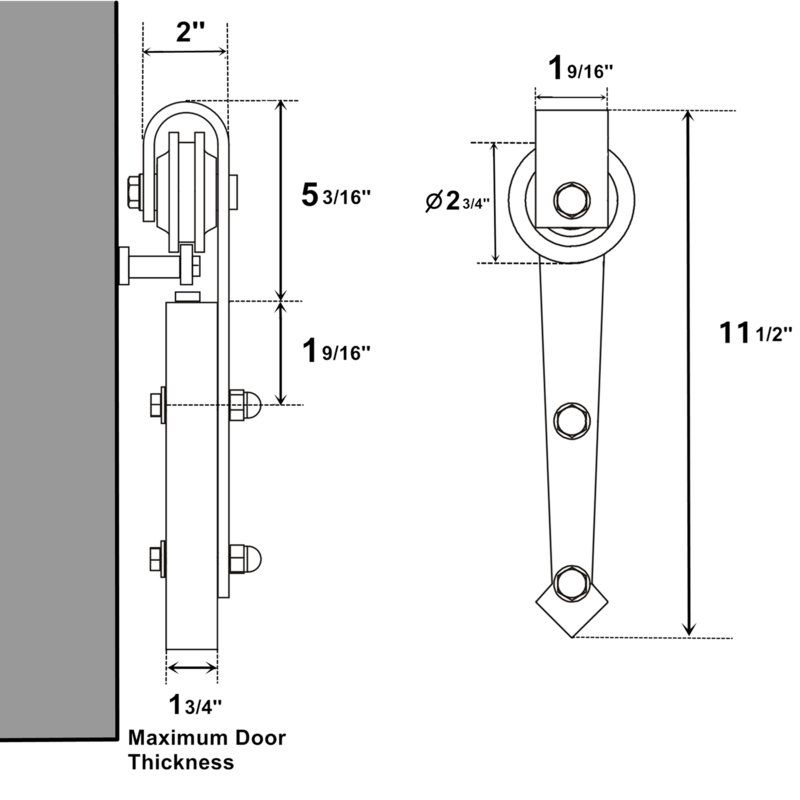 Arrow Sliding Standard Double Track Barn Door Hardware Kit