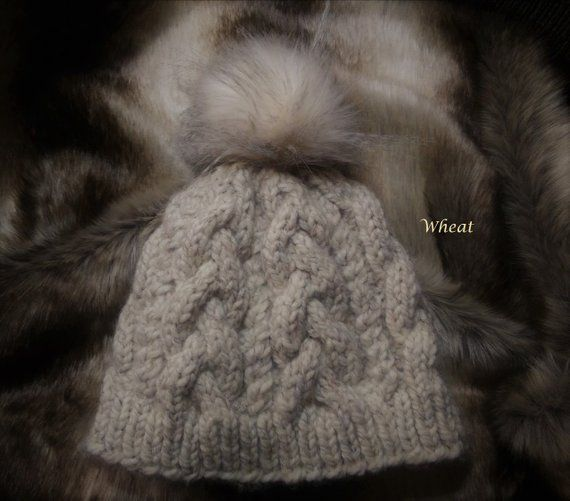 247552fee3c Chunky Knit Faux Fur Pom pom Wool Hat Beanie Tuque Twisted Cable authentic  Handmade in Alaska winter