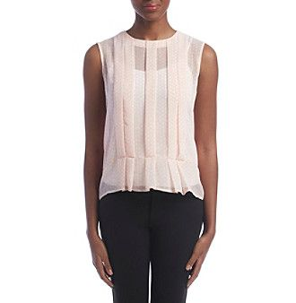Tommy Hilfiger® Dot Sleeveless Pleated Blouse