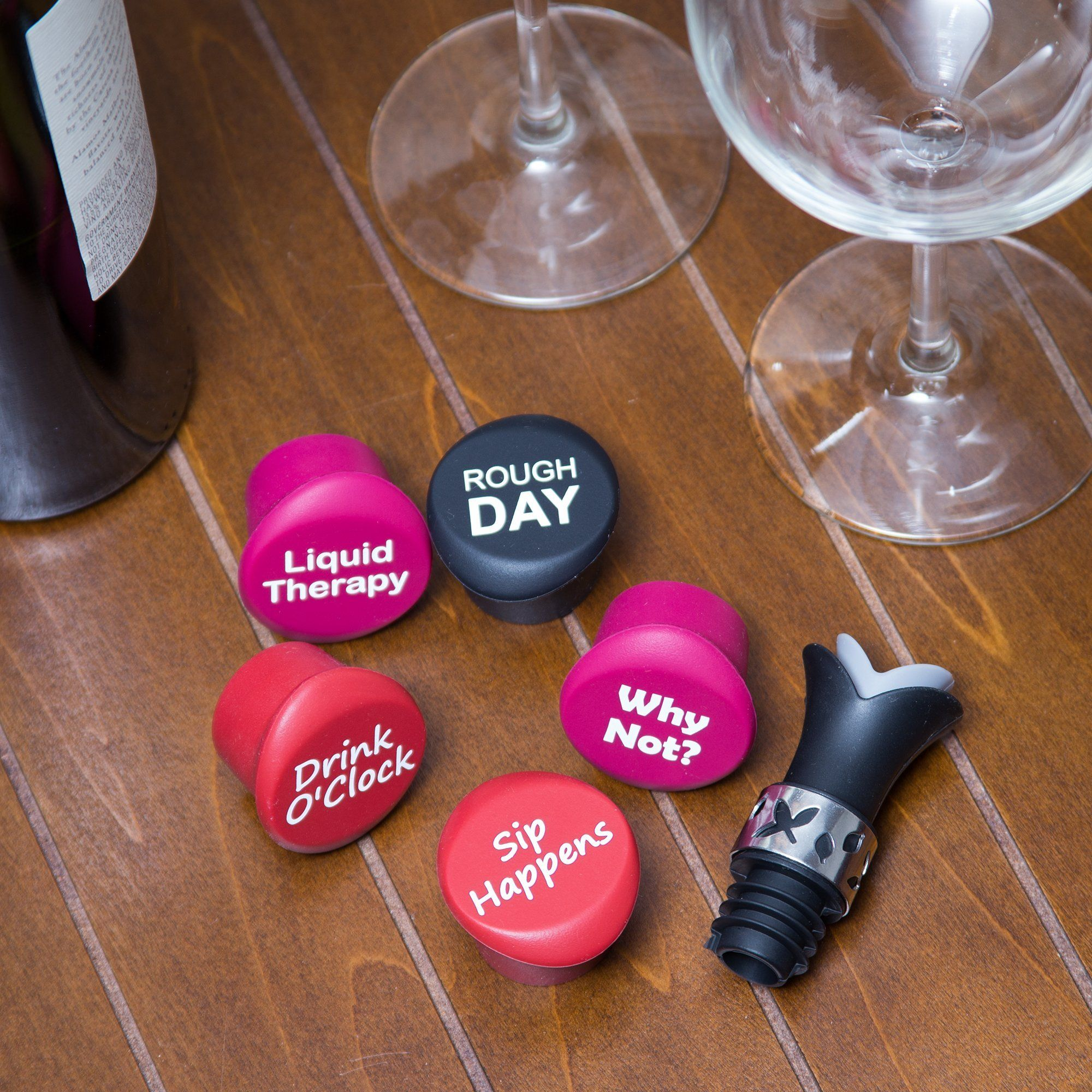 gift stopper//pourer for wine,... Funny reusable silicone bottle cap stoppers