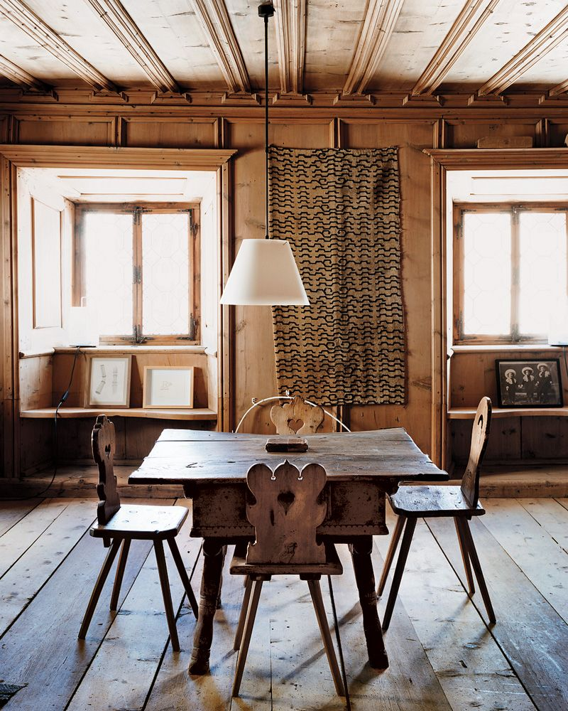 In Ardez, A 17th-century Engadine Table And Chairs, And A