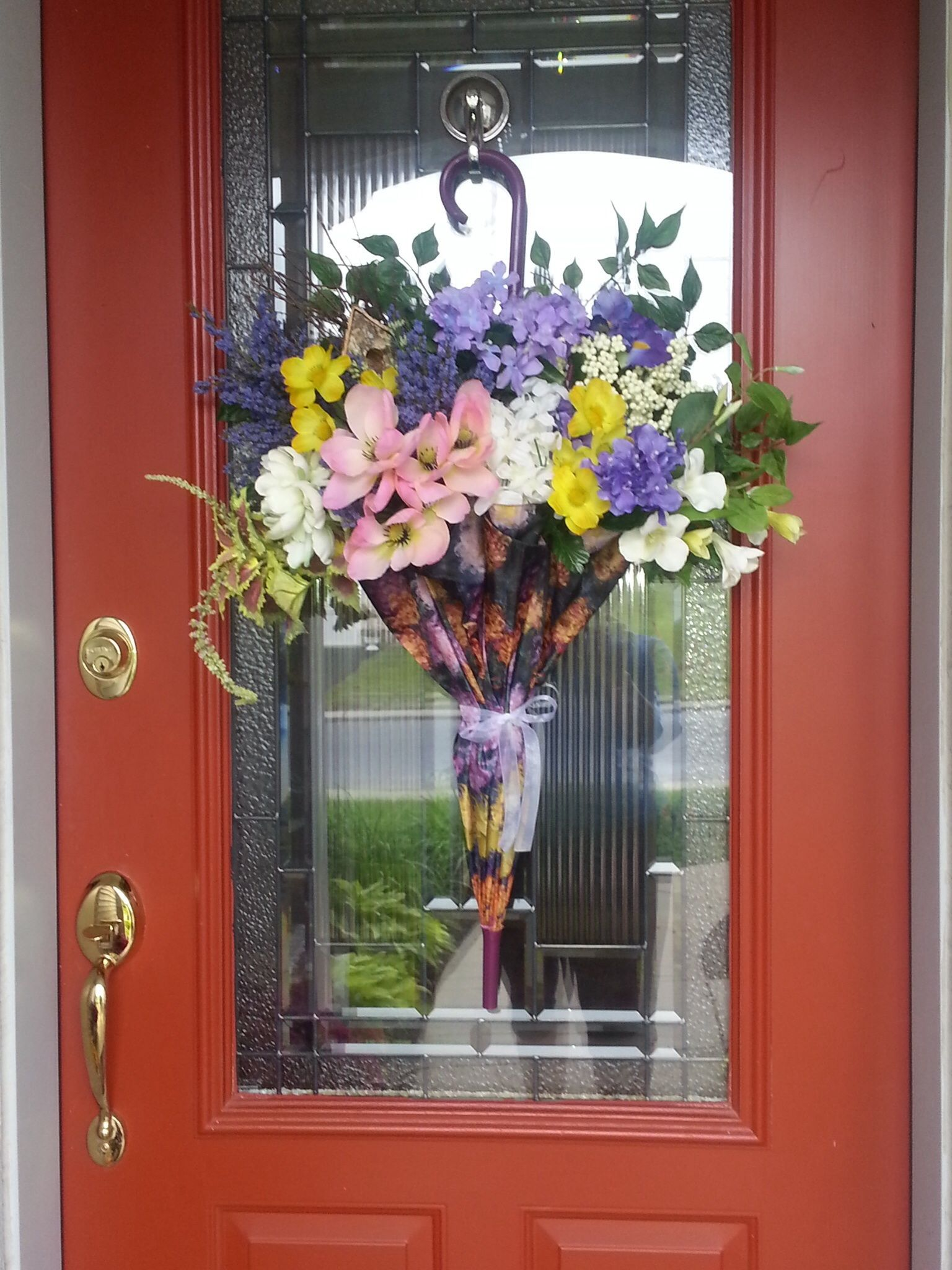 Summer front door decorations - Summer Blossoms Spill From My Colorful Umbrella Door Decoration