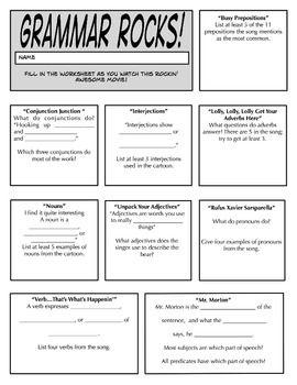Grammar Rocks! A Worksheet to Accompany the Cartoon   Upper Grade ...