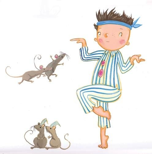 Erica Jane Waters Illustration - erica jane waters, fiction, commercial, paint, painted, acrylic, young reader, YA, tween, teen, person, boy, child, figure, pajamas, mice, rats, playing
