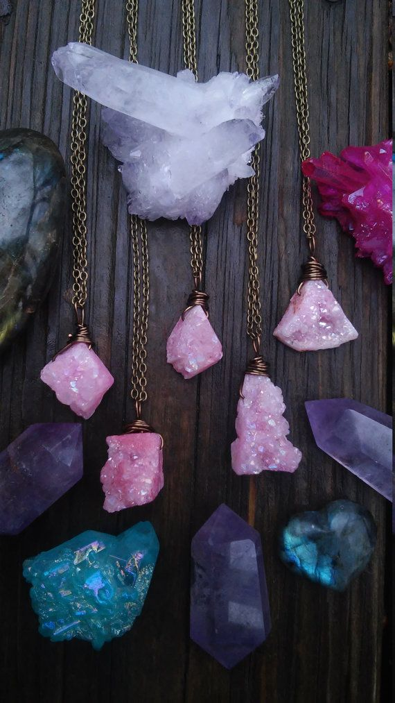 Abstract cotton candy pink rainbow Aura Crystal Necklace ------------------------------------------- Crystal auras glisten and glow when they capture sun A lovely piece for any crystal lover to wear .  _______________________________________   Available in 16, 18, and 30 antique bronze chain necklace length