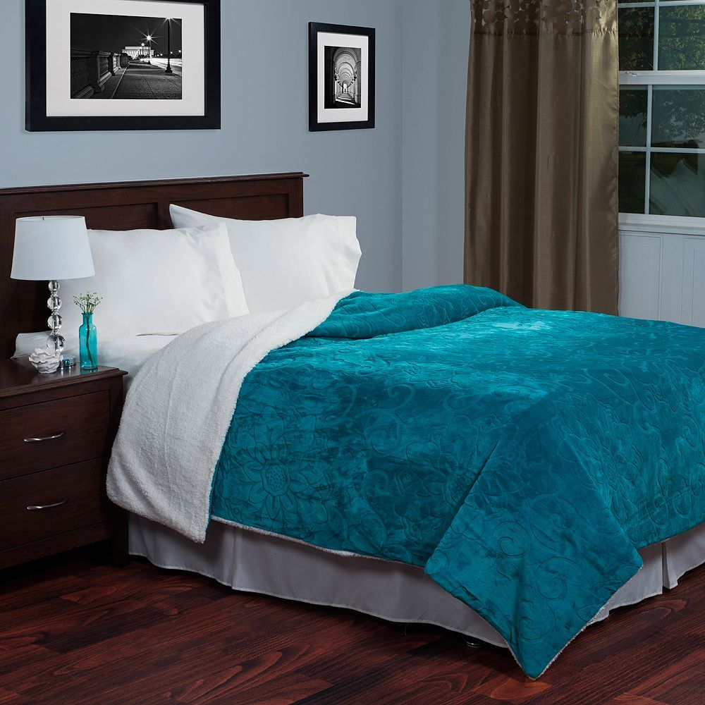 Portsmouth Home Etched Floral Fleece And Sherpa Blanket Blue