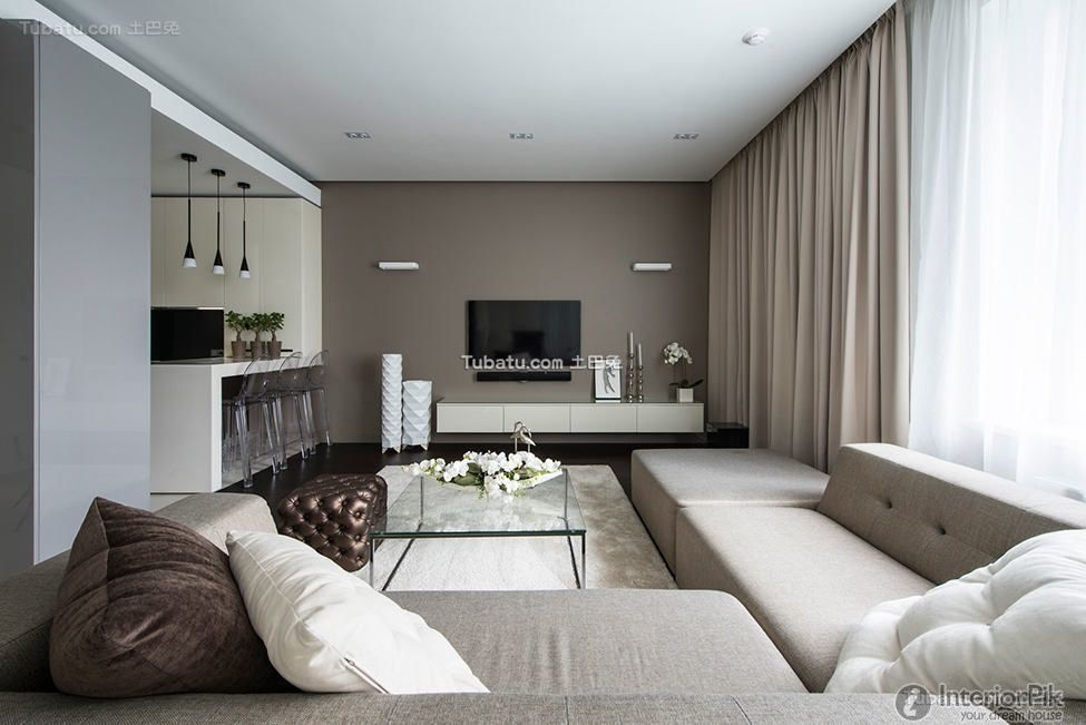 Amazing Minimalist Apartment Design : Minimalist Apartment With White Brown  Living Room Sofa Pillow Table Window Curtain And Hardwood Floor