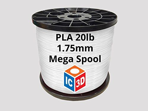 IC3D High Quality White 1.75mm PLA 3D Printer Filament Mega Spool (20lbs) - Dimensional Accuracy  /- 0.05mm - Professional Grade 3D Printing Filament - MADE IN USA * Visit the image link more details.