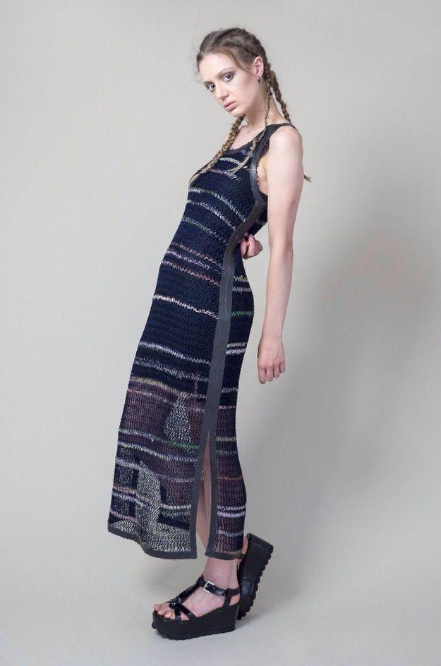 #ss16 knitted #dress rubber trim. #hellenvanrees #fashion #knitwear