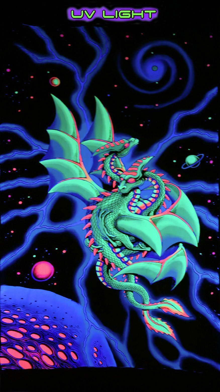 Uv Wallhanging Space Dragons In 2020 Space Dragon Black Light