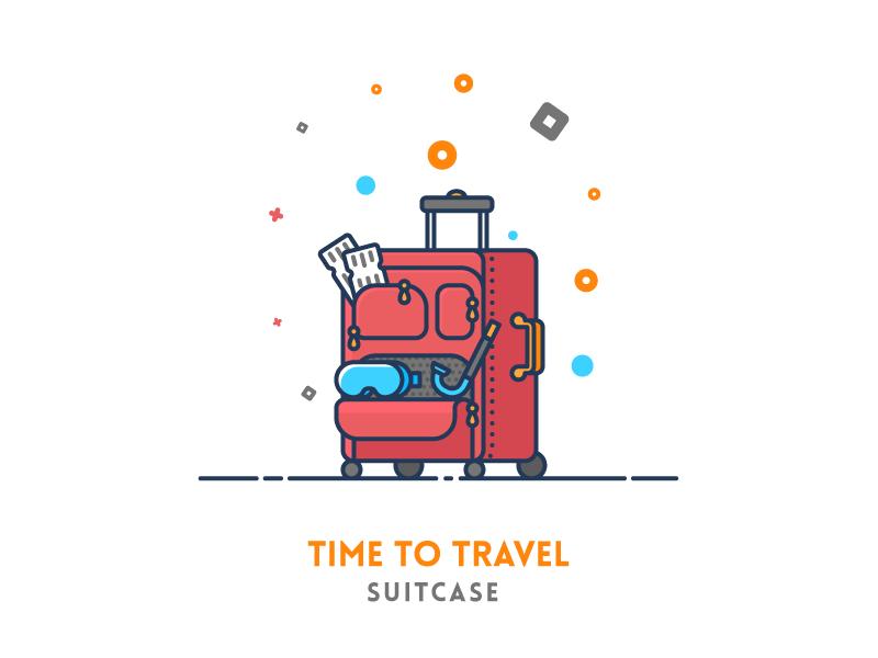 Travel Suitcase Outline Illustration Kids Travel Journal Travel Icon
