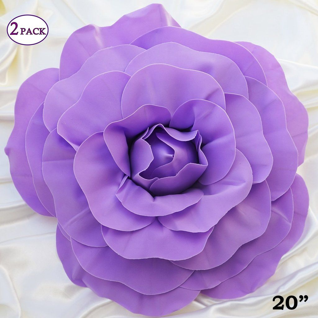 20 Giant Real Touch Lavender Artificial Foam Paper Craft Rose Diy