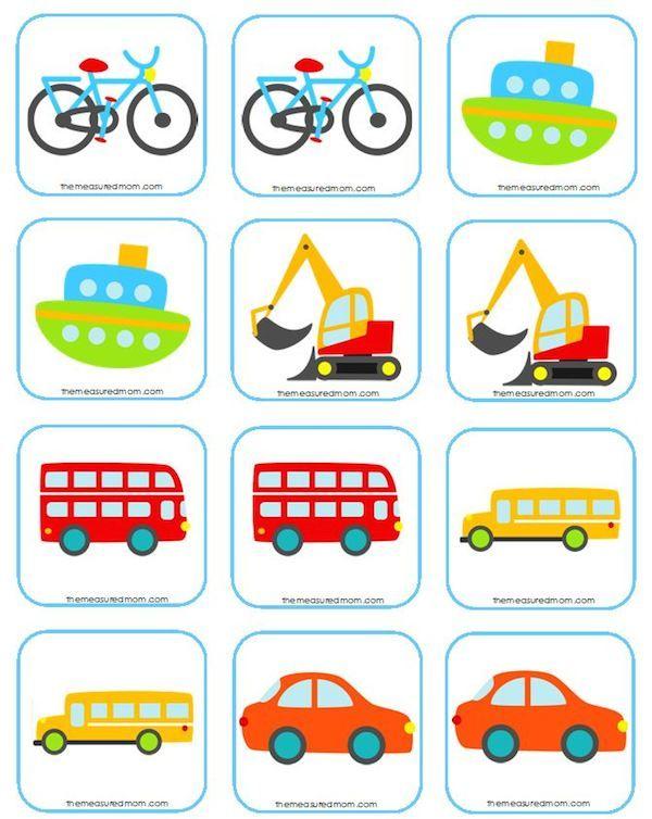 Juegos De Memoria Para Niños 5 Ideas Para Imprimir Pequeocio Juegos De Memoria Actividades De Transporte Tema Del Transporte