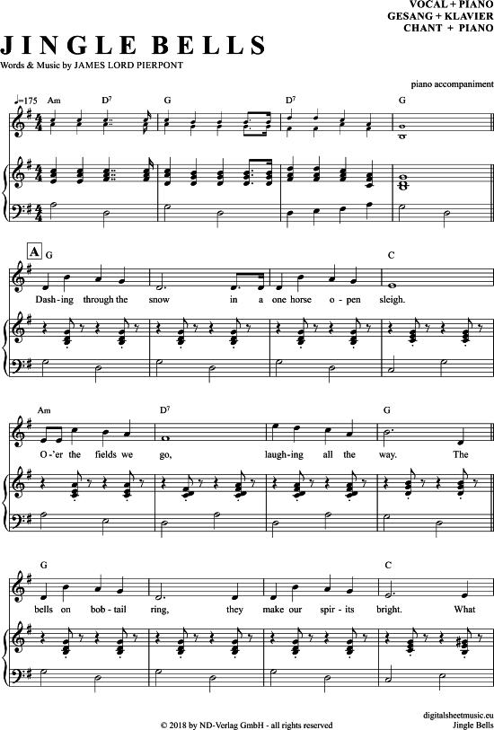 Jingle Bells Klavier Begleitung Gesang Pdf Noten Klick Auf Die Trio Noten Um Reinzuhoren Noten Zum Download Fur Vers Klavier Gesang Noten Klavier