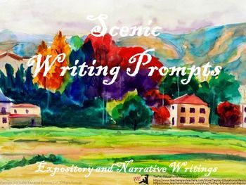 Price $4.00 Scenic Writing Prompts is a collection of fun, colorful watercolors or paintings with age appropriate vocabulary. Encourage your students to write expository or narratives with visuals and key words prompts.